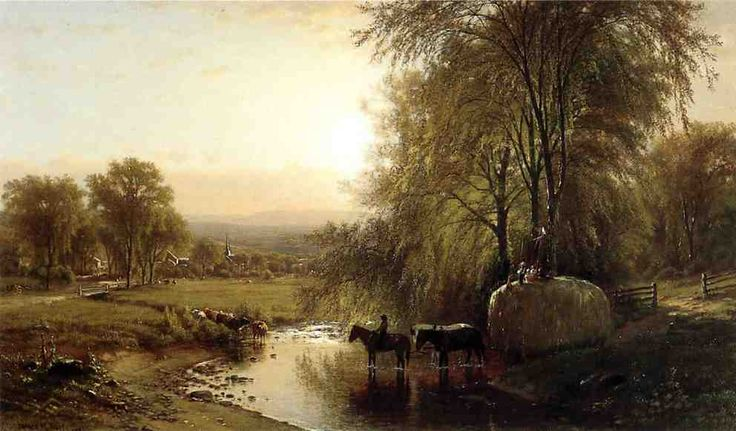 """Returning from Harvest"", Oil On Canvas by James Mcdougal Hart (1828-1901, United Kingdom)"