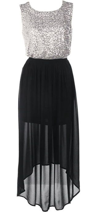 Metallic Maxi Dress: Features a sparkling sequin bodice with cutout open back, romantic chiffon skirt with shorter-length liner for perfect coverage, chic high-low hem for added glamour, and a rear zip closure to finish.