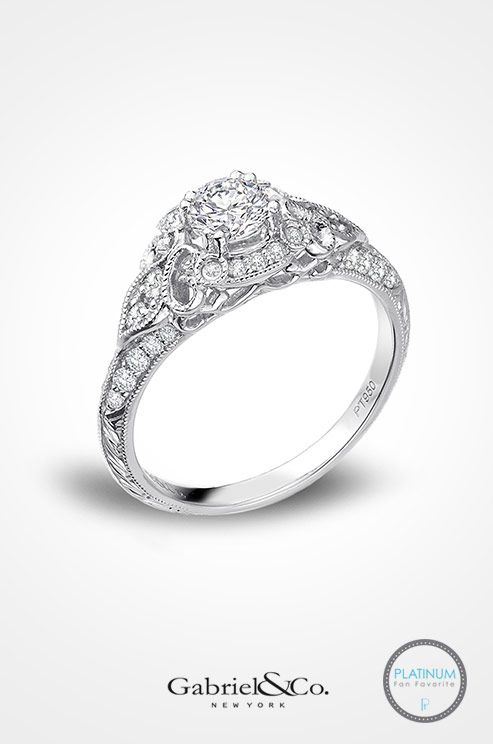 Gabriel & Co. Platinum Victorian Halo Engagement Ring. Check out the new fabulous platinum jewlery collection.
