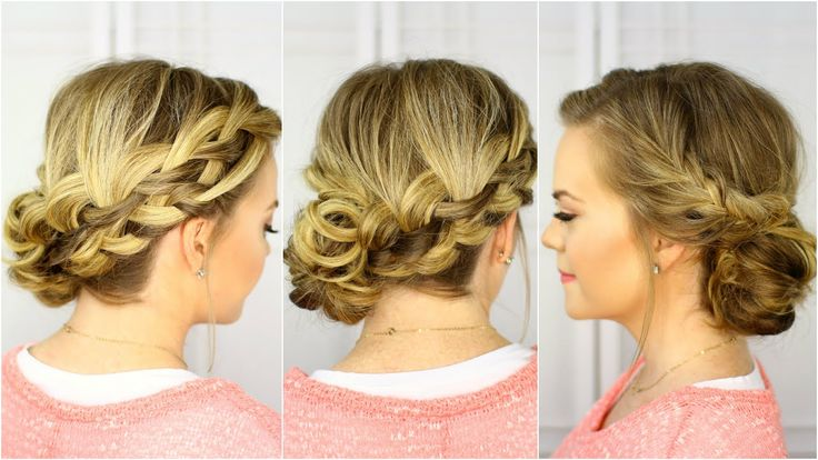 This hairstyle features a waterfall braid and french braid on one side with a fishtail braid on the other, all pinned into a pretty bun. --------------------...