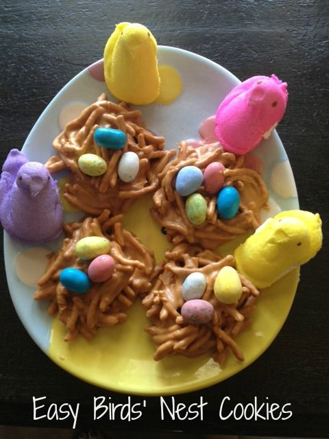 Easy birds nest cookies using chow mein noodles, butterscotch chips (can use chocolate) and Cadbury eggs. Super kid friendly and just cute!
