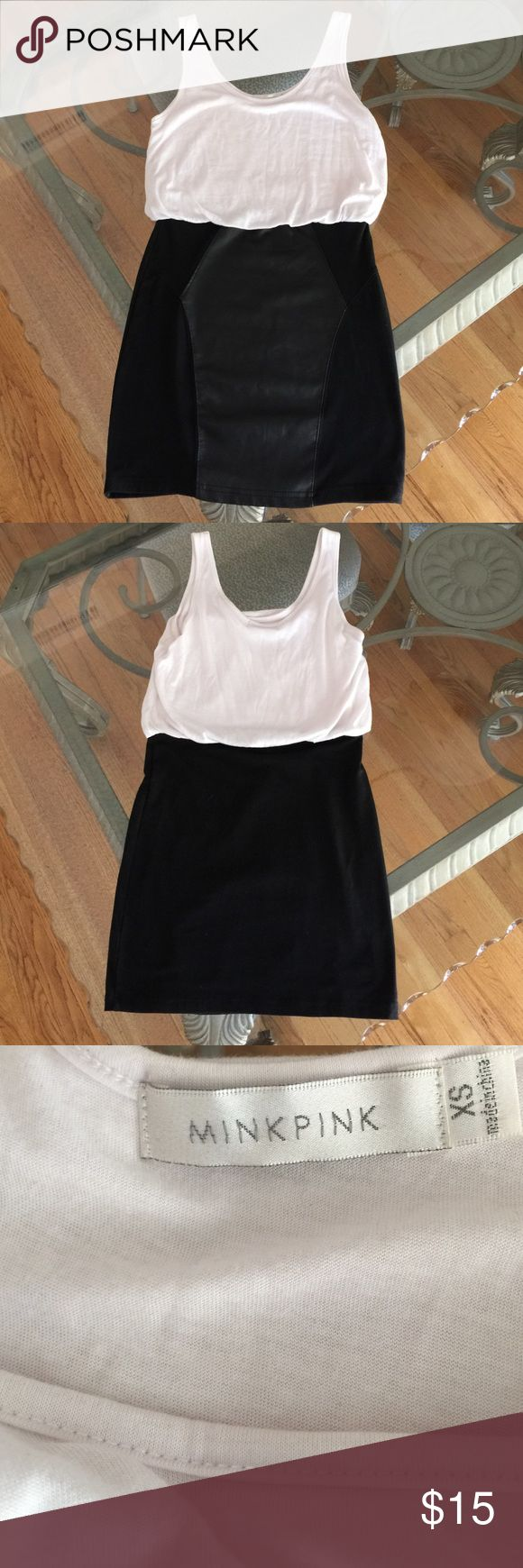 """ASOS MinkPink Tank Dress With Faux Leather, XS MinkPink dress with loose white tank and connected tight black skirt with faux leather in size extra small. Measures 32"""" from shoulder to hem. Please ask if you have any questions. ASOS Dresses Mini"""