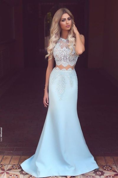 Light blue chiffon white lace see-through round neck mermaid long prom dresses formal dresses