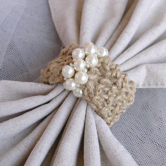 Wedding Napkin Rings  Hemp Napkin Rings  Crochet Napkin by Umis, $16.00