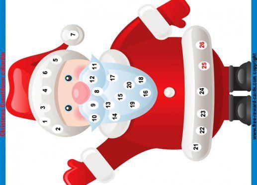 Christmas countdown calendar Santa Claus