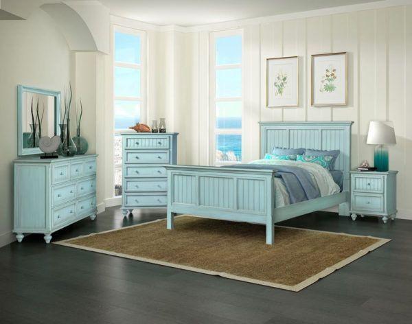 Monaco Distressed Bleu Stain 4 Pc Bedroom Set Model B81832 B81837 B81840 B81838 By Seawinds Trading Bed Blue Bedroom Furniture Bedroom Sets Blue Bedroom Chair