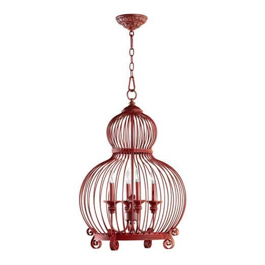 Check out this cool red cage light.  Features four candelabra lamps that will really pack a punch even in a large space. Check out more at http://mountainlighting.com/lighting-fixtures?itemNumVal=6765-4-34