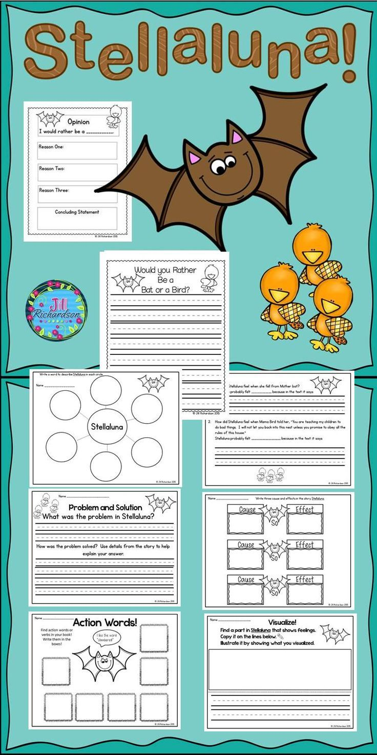 Stellaluna by Janell Cannon is a delightful story of a bat and this activity includes 8 printables listed below. Includes:Describe Stellaluna graphic organizer How did Stellaluna feel?Problem and Solution Cause and Effect Action Words Visualize Graphic Organizer for Opinion Writing Would you Rather be a Bird or a Bat?