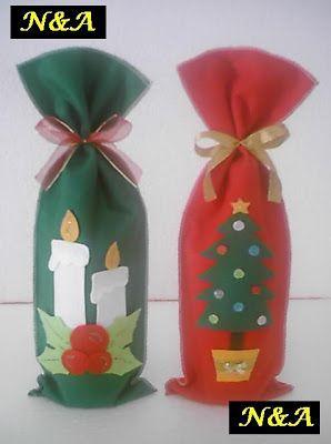N&A artesanatos: Embalagem para Vinho de Natal em Feltro Mais