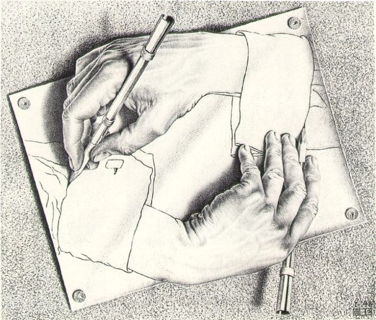 M.C. Escher: Drawing Hands - 1946 The lines are wavy in the hands and the shirt sleeve and  more strait around the fingers on both hands.