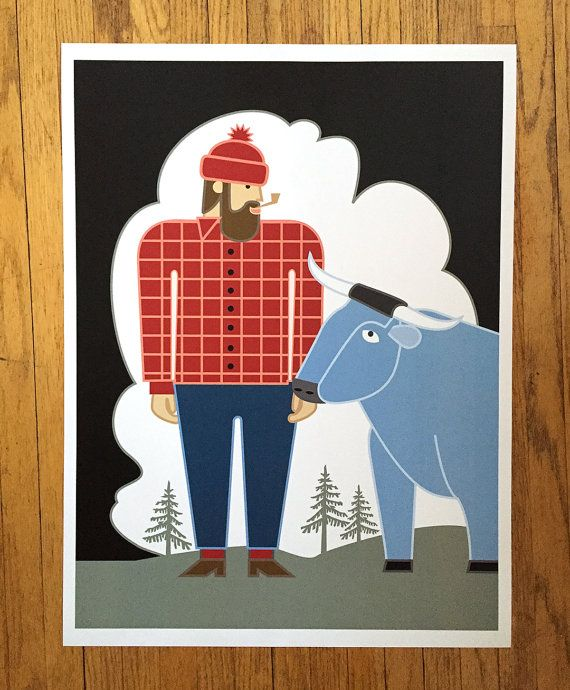 Paul Bunyan & Babe Blue Ox poster by CindyLindgren on Etsy