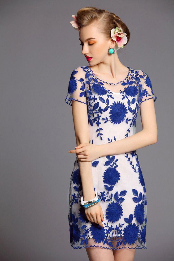 28 best blue white images on pinterest woman fashion dress blue white floral dress izmirmasajfo