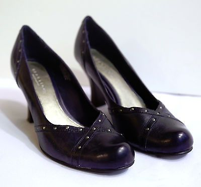 Kenneth Cole Reaction Genuine Leather Navy Blue Heels Shoes Closed Toe PumpsWork