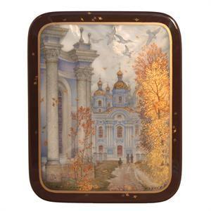 #Fedoskino. Golden Fall by Sergey Kozlov.  Gorgeous.