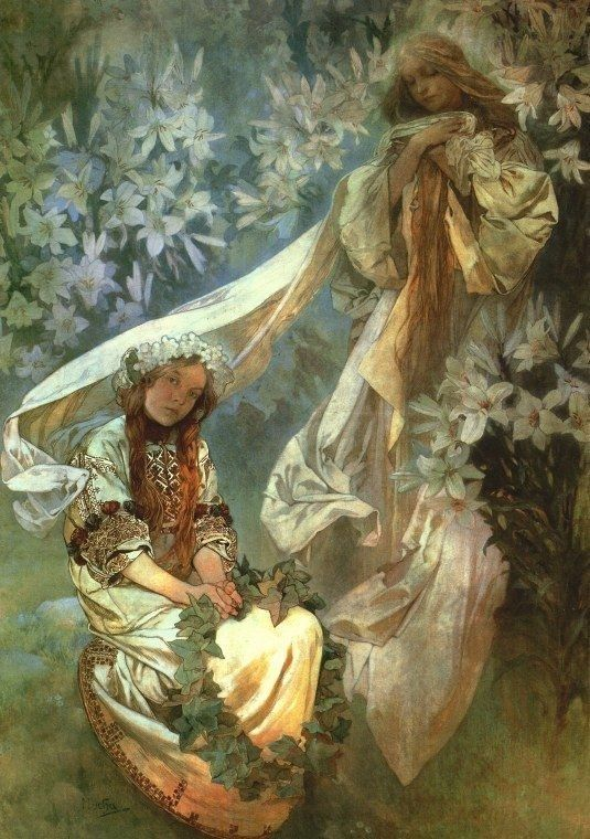 Alphonse Mucha Madonna of the Lilies