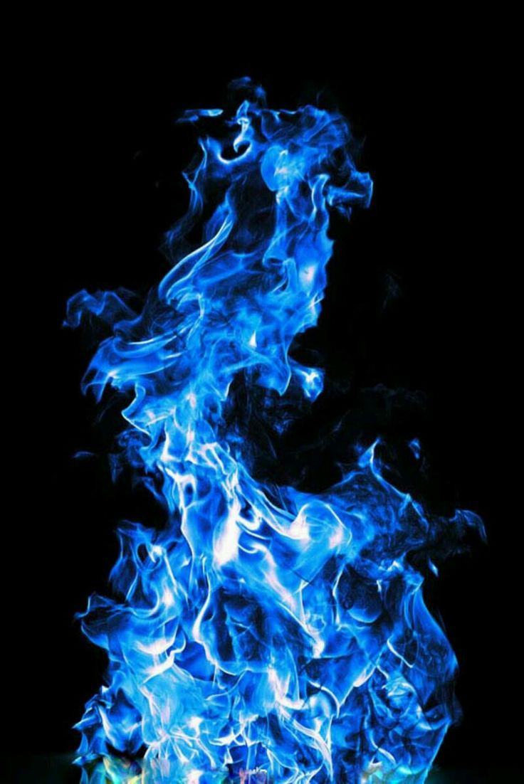 Blue Fire Flames White Background
