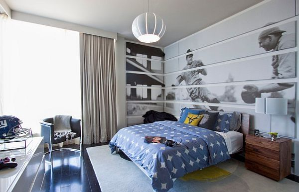 Teenage boys bedroom, sports