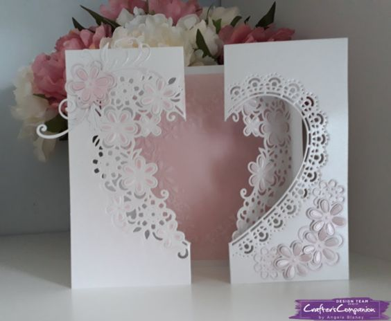 Fold back gatefold card made using Crafter's Companion Die'sire Create a Card Die - Love is in the air. Designed by Angela Blaney #crafterscompanion