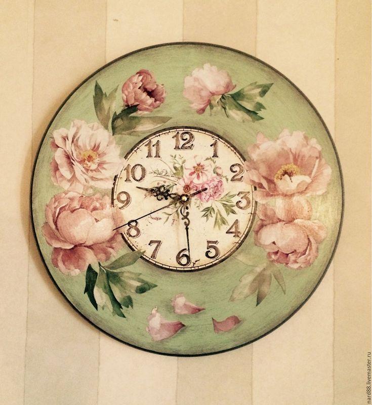 Купить Часы настенные Розовые пионы - мятный, часы настенные, часы для дома, часы интерьерные