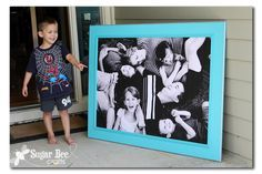 Giant Picture - tutorial! b/w photo on foam board (Lowes foam pieces to insulate houses), blow up picture at Staples etc. using engineer print (not photo quality but good-about 4 ft x 3 ft).  Trim board to photo size. If black edge wanted, use craft paint only. Peel off clear film over the foam so paint will work. Use spray glue to stick down (not modge podge). Dry, hangers on back and voila!