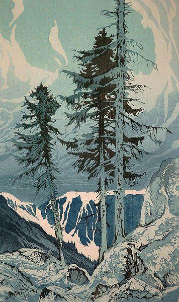 ✨ Oscar Droege (1898-1983) - Der Wasserfall, Farb-Holzschnitt ::: The Waterfall…