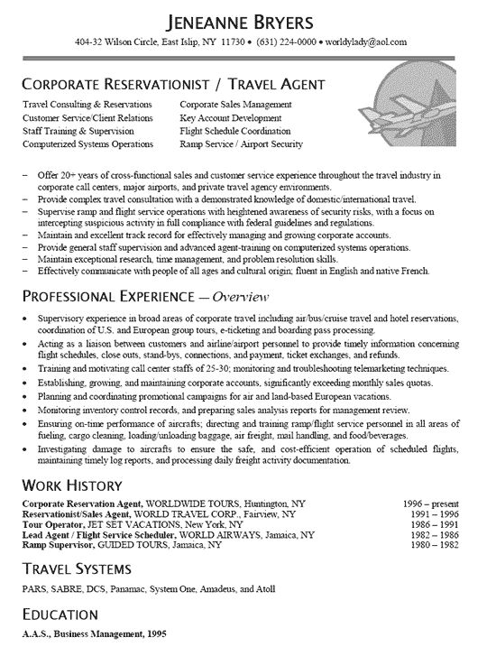 travel agent resume example
