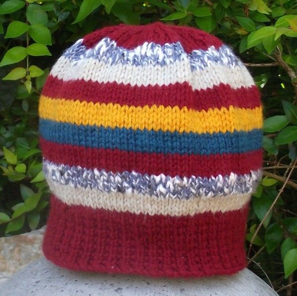 Striped Hand Knitted Kids Beanie