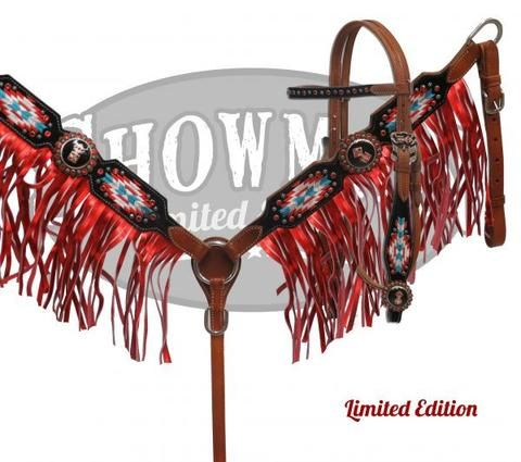 Embroidered Navajo Headstall Set