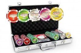 Mallette Laser Las Vegas 300 jetons - Pokeo.fr - Mallette de poker en aluminium 300 jetons Laser Las Vegas en PP stické 11,5g + 2 jeux de cartes en carton plastifié + 1 livret de règles du jeu Pokeo.