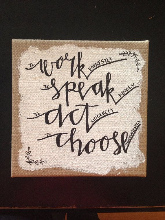 Chi Omega Burlap Canvas: Work. Speak. Act. Choose.