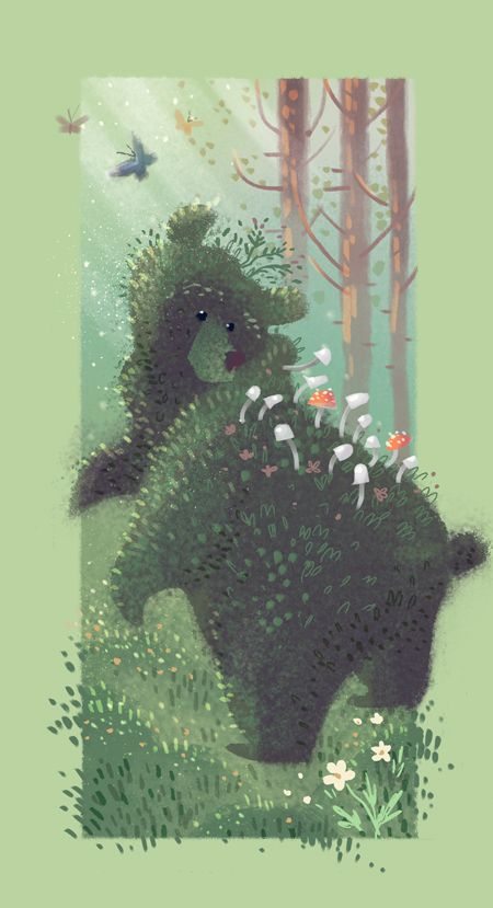 "Valerie Rustad: "" Mossbear. I ♥ drawing floofy bear butts """
