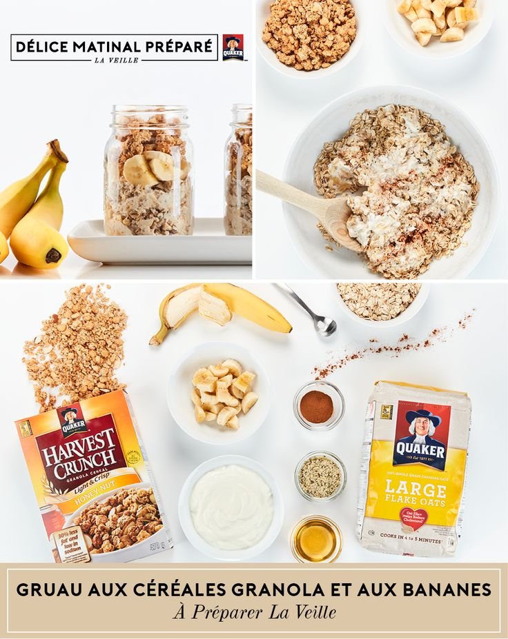 Profitez d'un #délicematinalpréparélaveille et votre matinée sera un moment de bonheur grâce à ce mélange de bananes, d'avoine et de graines de chia que vous garnirez de bananes hachées et de céréales Croque NatureMC de Quaker®.   Plus de recettes et d'astuces à gruauapreparerlaveille.ca.