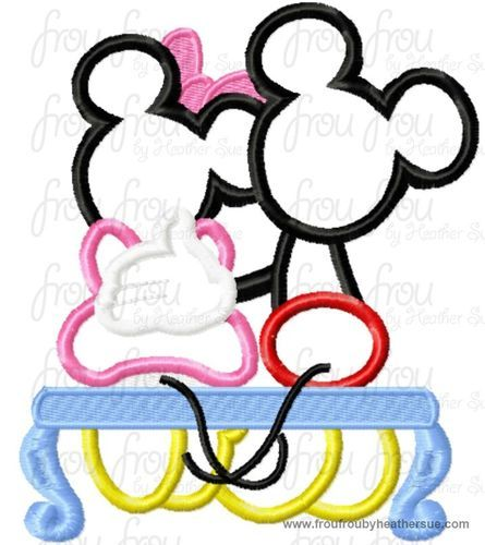 Mister and Miss Mouse on Bench Machine Applique Embroidery Designs, multiple sizes including 4 inch