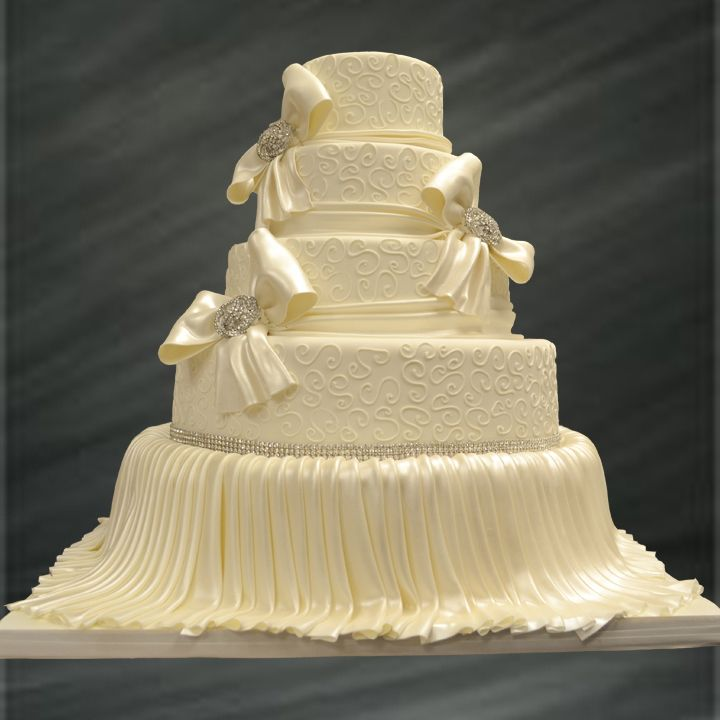 Elegant, Lace Inspired, Ivory, Fondant Wedding Cake Accented with Silk Ribbons and Vintage Jewelry