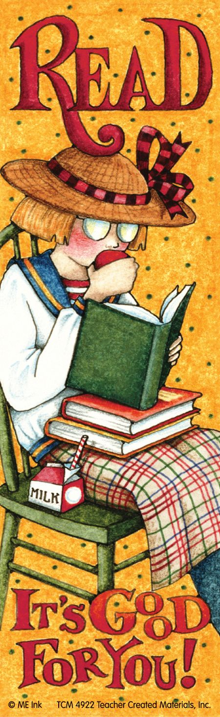 """Mary Engelbreit (1952- ), American / """"Read ... It's Good For You"""" bookmark depicts schoolgirl eating an apple and reading a book from the stack of books on her lap, c. 1990s?, USA"""