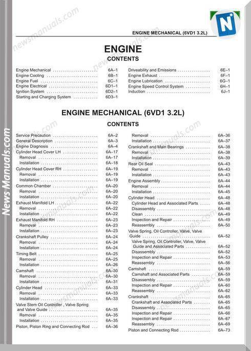 Isuzu Engine Mechanical Models 6vd1 3 2l Repair Manual