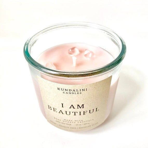 Self Love Candle, Rose Quartz Crystal Candle, Spell Candle, Law Of Attraction, Affirmation Candle, Vegan Candle
