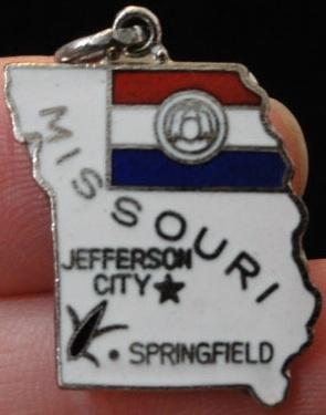 Missouri ...Vintage State Enamel Map 1970s...Jefferson City- Springfield