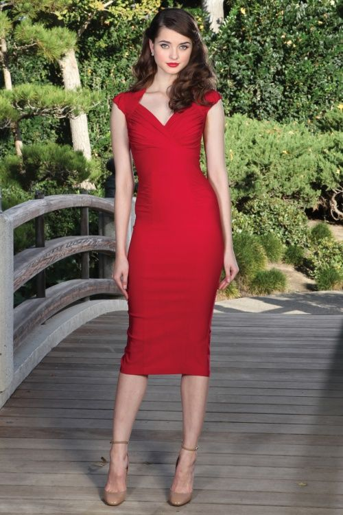 Stop Staring! - 50s Harmosa Pencil Dress in Red