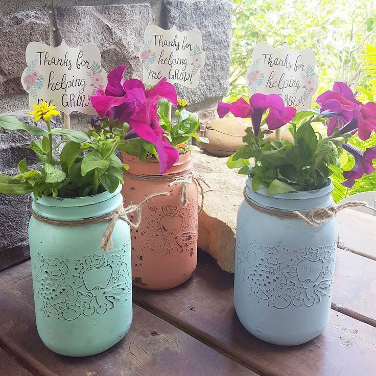 Hard to believe that school is almost out for another year!  These adorable mason jars are a lovely way to say 'thank you' to your kids' teachers.  These ones are headed out today for delivery!       #thankyou #teacher #grow #flowers #masonjars #school #schoolsoutforsummer #custom #creative #shoplocal #paint #summer #vacation #rustic #cute #greenthumb #yyc #yycmaker #Okotoks #Wheatland #Strathmore #gifts #HistorymeetHandmade