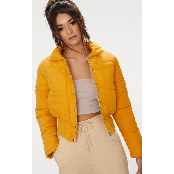 Mustard Peach Skin Cropped Puffer Jacket ($40) ❤ liked on Polyvore featuring outerwear, jackets, yellow, cropped puffer jacket, yellow jacket, yellow crop jacket, zip front jacket and puffer jacket