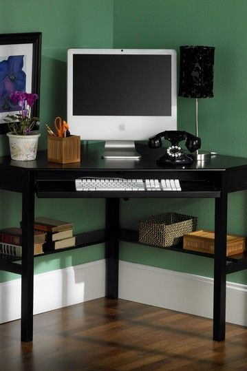 create a convenient workcenter in any room with the stilton corner desk this corner desk has a pullout tray for your keyboard and mouse