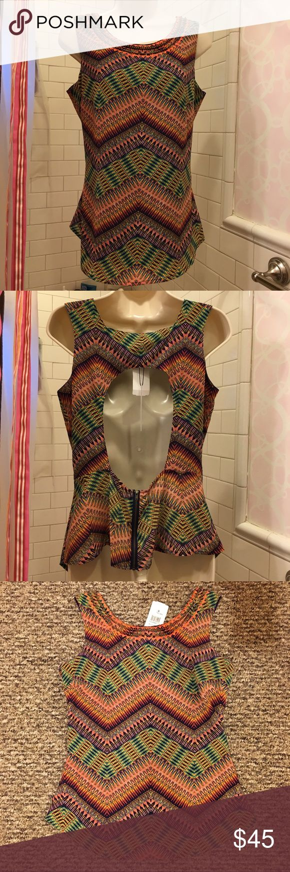 "Sanctuary Sunset Shell Chevron Top Shirt Blouse M Here is a new with tags ""sunset shell"" by Sanctuary. It is a beautiful, very colorful chevron print top with an open back design. It has a beaded neckline and zipper in the back. It is a size M- measurements as shown in pictures. Sanctuary Tops Blouses"