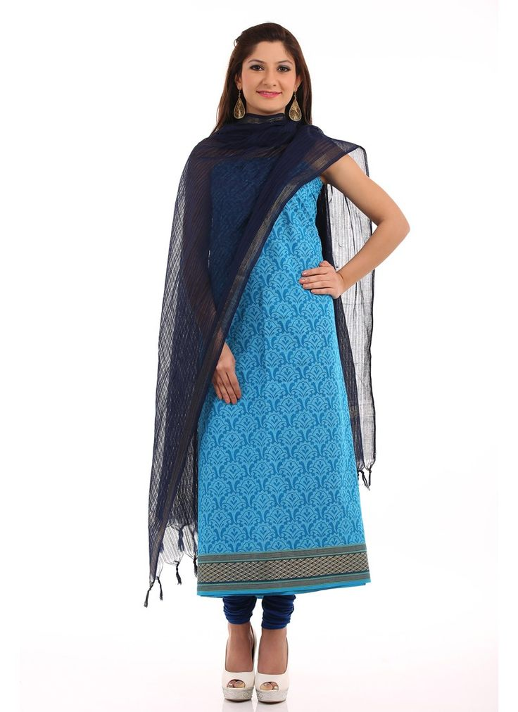 Blue Chanderi Printed Unstitched Suit
