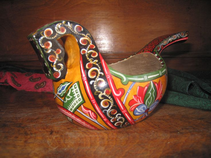 "Pipkin""Horse"", Russian traditional ladle for drinking or salt, wooden pipkin, Medieval Russian painting, folk, ethnic style by RussianStore on Etsy"