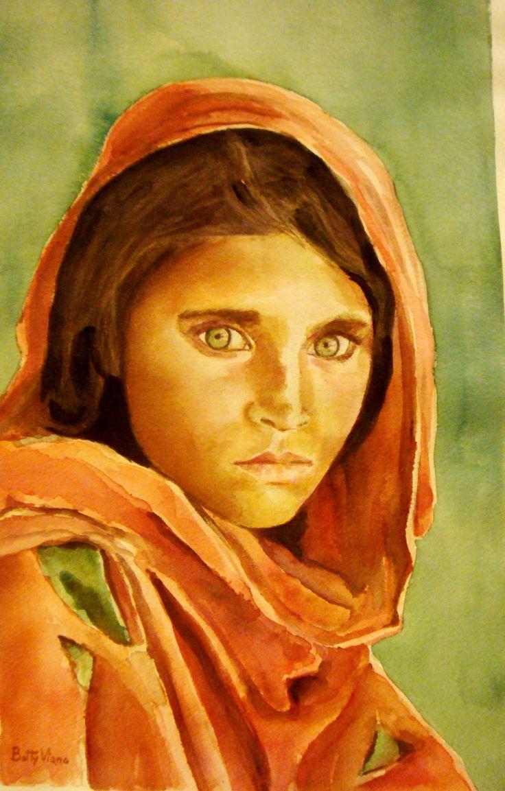 """dalla celebre foto di Steve McCurry """"Ragazza afgana"""""""