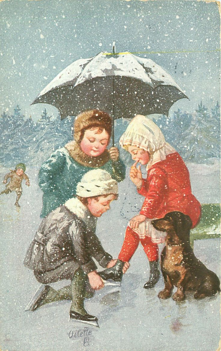 boy helps girl put on skate, another holds umbrella, dachshund lower right, snow falls
