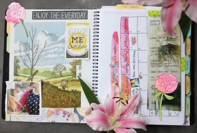 i like this idea - creating a small vision board directly in your planner at the beginning of every month.