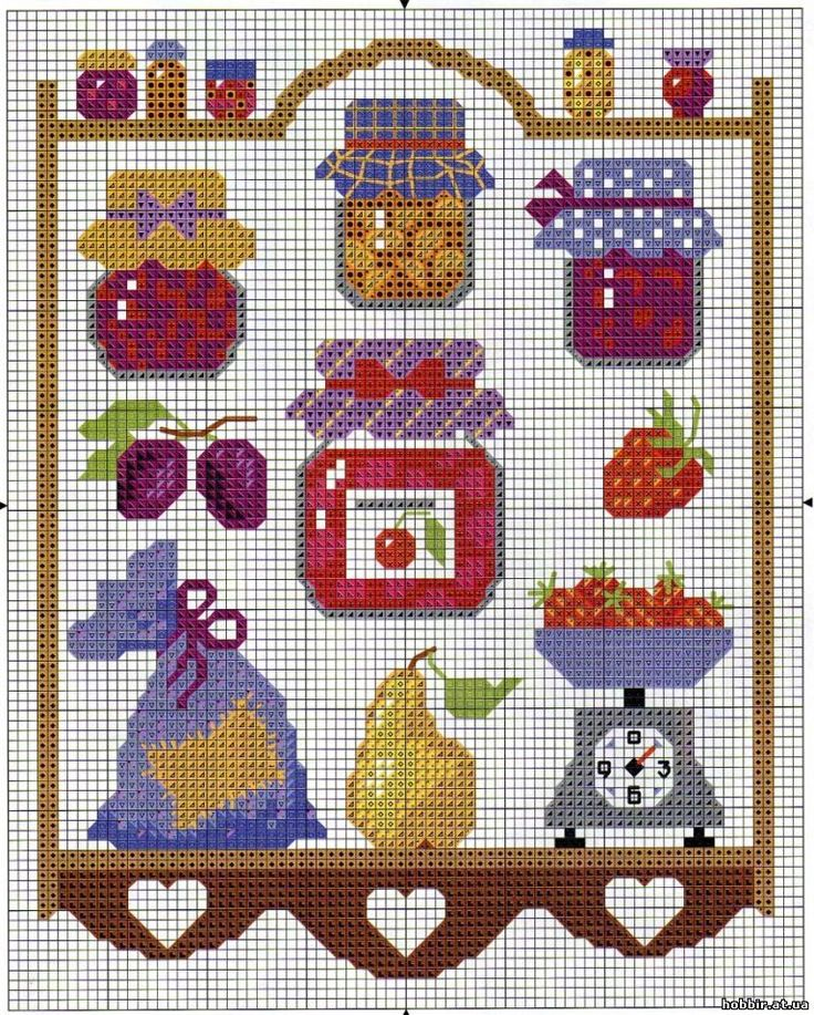 Kitchen pattern / chart for cross stitch, crochet, knitting, knotting, beading, weaving, pixel art, and other crafting projects