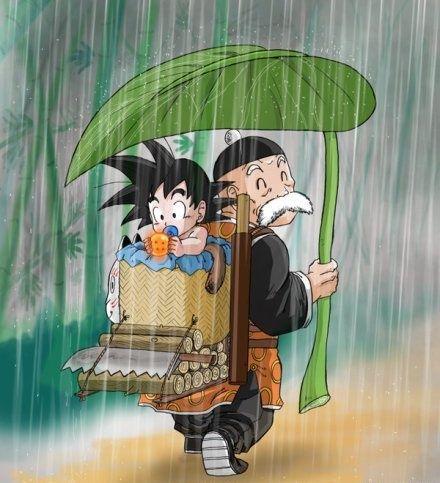 Goku pequeño con su abuelo Son Gohan.